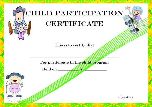 Child Certificate of Partcipation Template