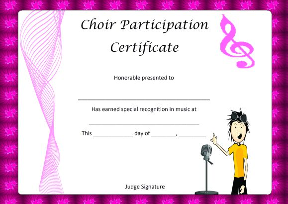 Choir Certificate of Partcipation Template