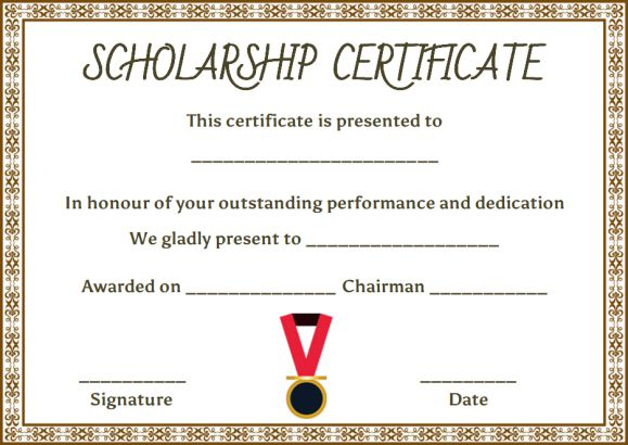 Scholarship certificate template 11 professional for Scholarship guidelines template