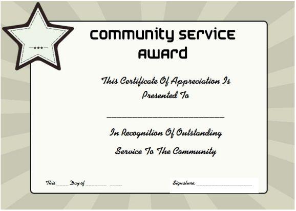 community service certificate of appreciation
