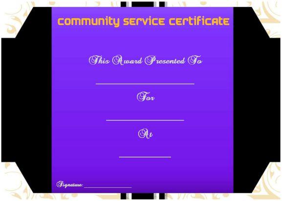 community service certificate template free
