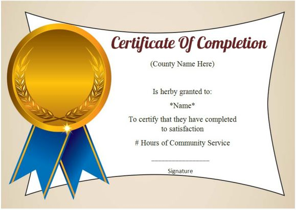 wording for certificate of completion