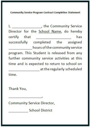 community service hours letter for College