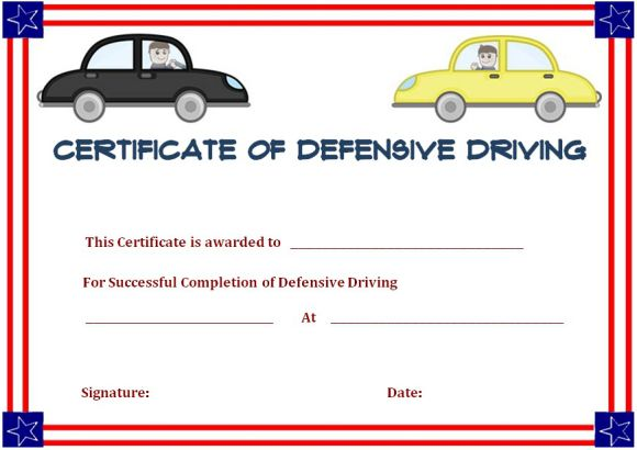 defensive driving certificate of completion