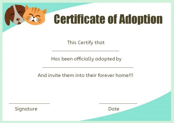 Pet adoption certificate template 10 creative and fun for Adoption certificate template