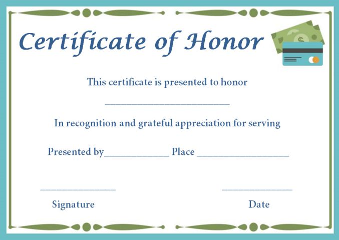 Donation in honor of certificate templates