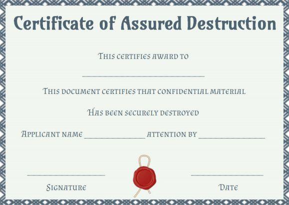 dvla certificate of destruction template