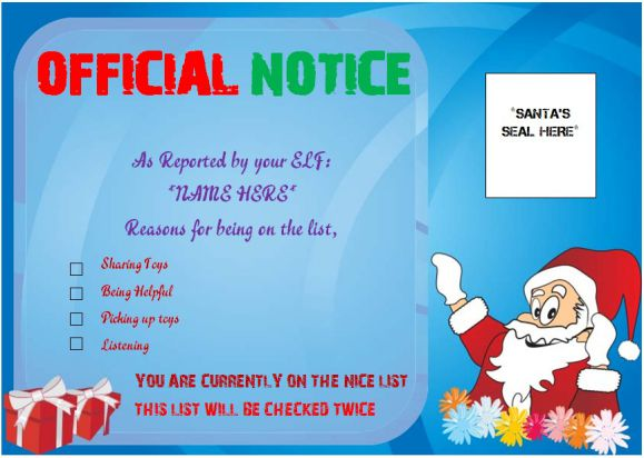 ELF On The Shelf Naughty Or Nice Certificate