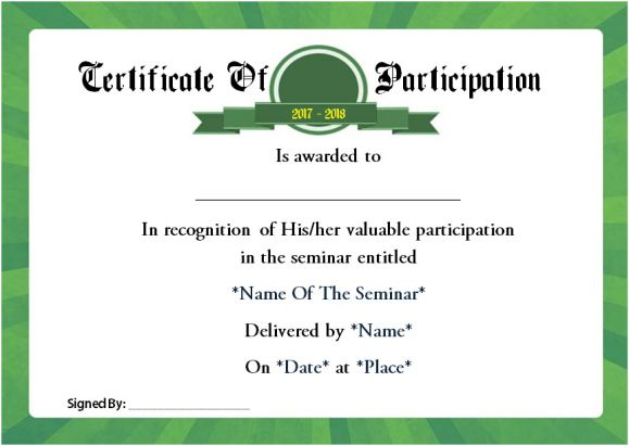 Example of certificate of participation in seminar