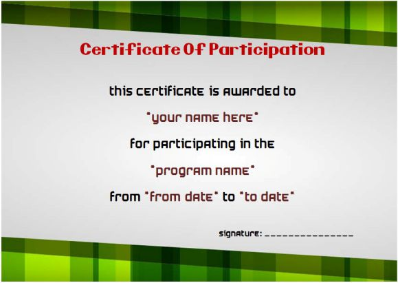 example of certificate of participation in seminars