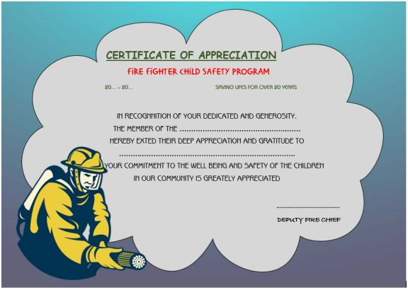 firefighter appreciation certificate