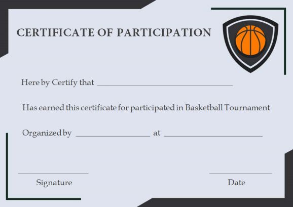 free basketball participation certificate