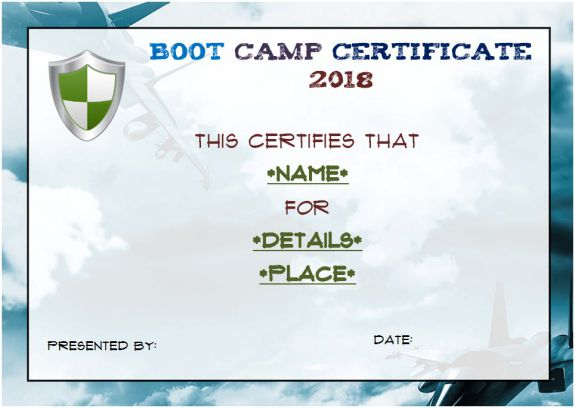 free printable boot camp certificate