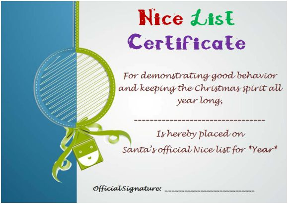 Free Printable Nice List Certificate From Santa
