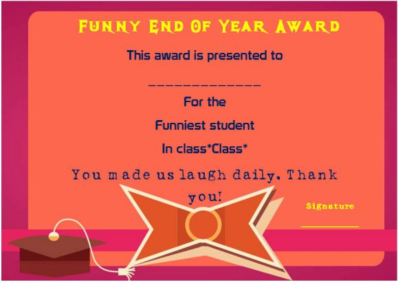 funny end of the year awards for high school students