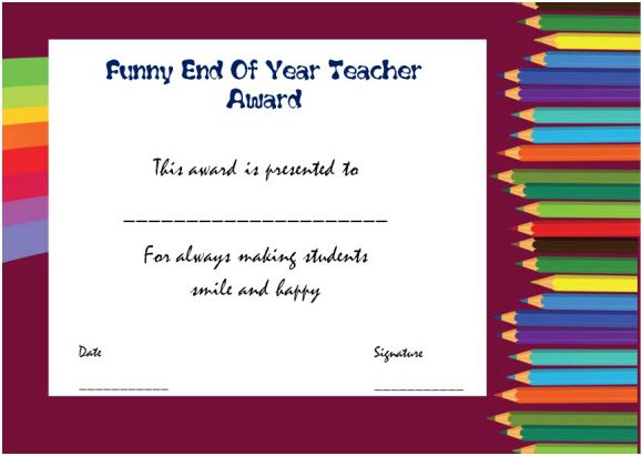 funny end of the year awards for teachers