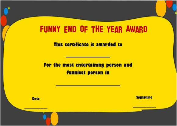 funny end of year awards for employee