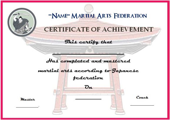 japanese martial arts certificate template