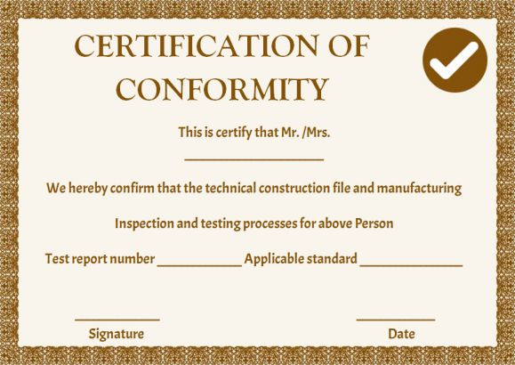 manufacturing certificate of conformance templates