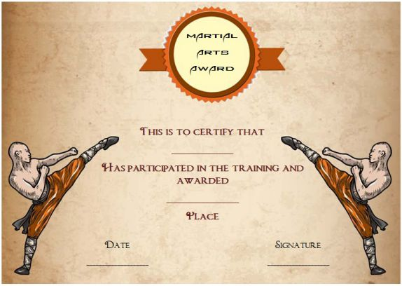 martial arts award certificate template