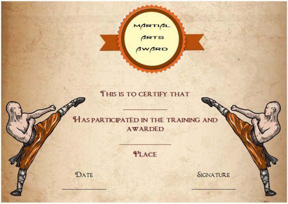 martial arts award certificate template