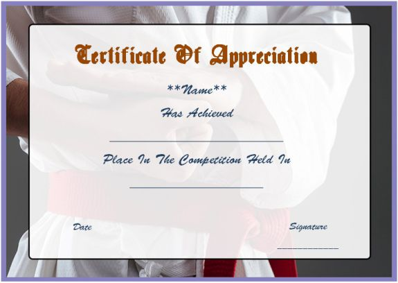 martial arts certificate of appreciation