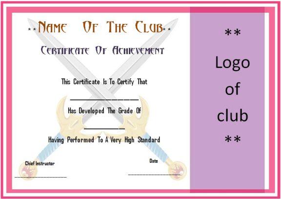 Martial Arts Grading Certificate Template Demplates