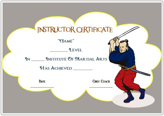 martial arts instructor certificate template