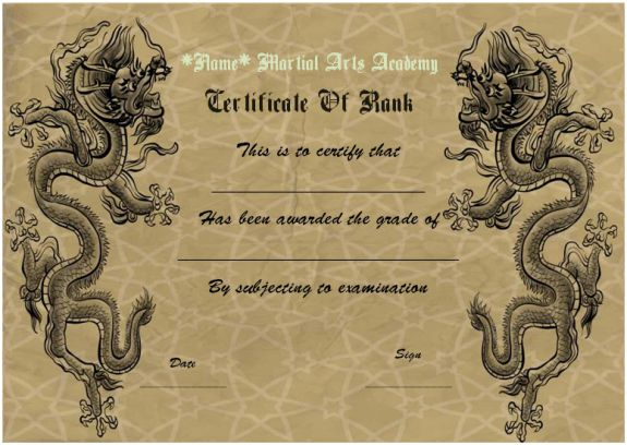 martial arts rank certificates template