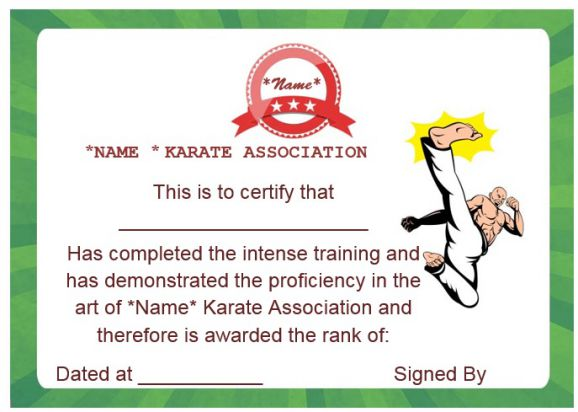 martial arts training certificate