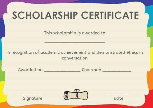 scholarship award letter template