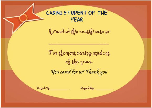 most caring student of the year award