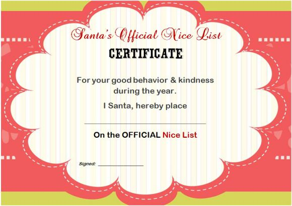 Naughty Or Nice Certificate Free