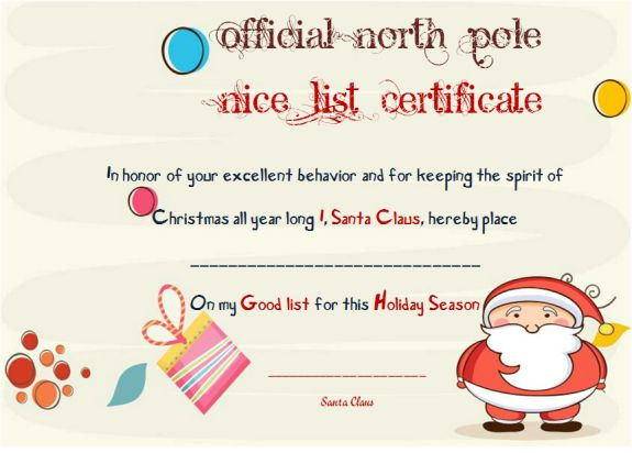 Official North Pole Nice List Certificate