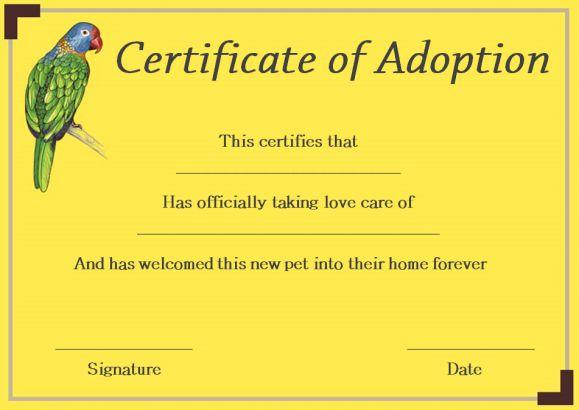 pet adoption certificate- printable