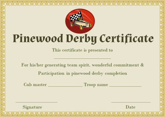 picture about Free Printable Pinewood Derby Certificates identified as Pinewood Derby Certification Template: 9 certificates (All