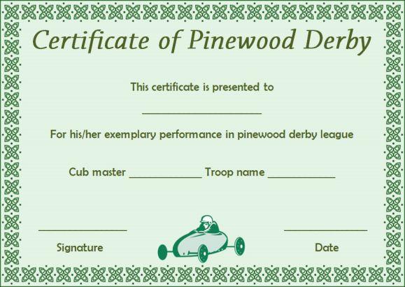 pinewood derby certificate templatess