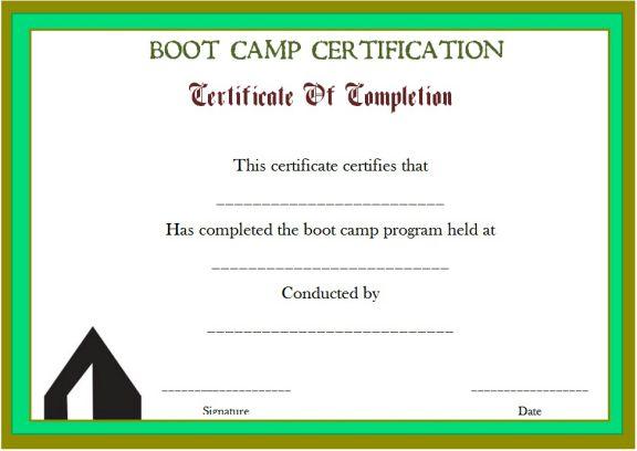 printable boot camp certificate