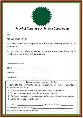 proof of community service certificate