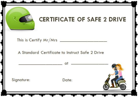 safe drive certificate