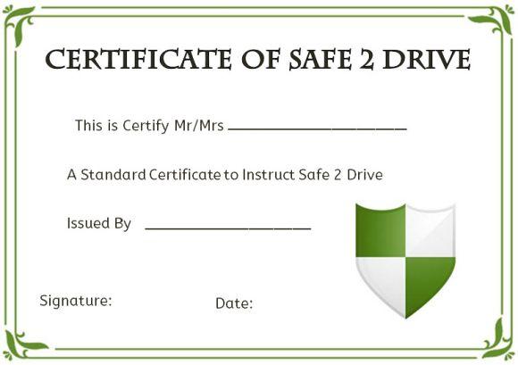 safe drive certificates