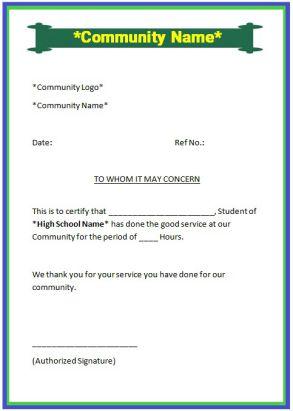 Sample community service letter for high school student