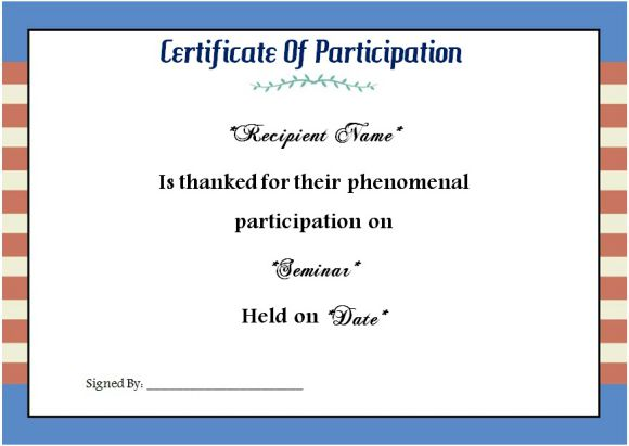 sample of certificate of participation in seminar
