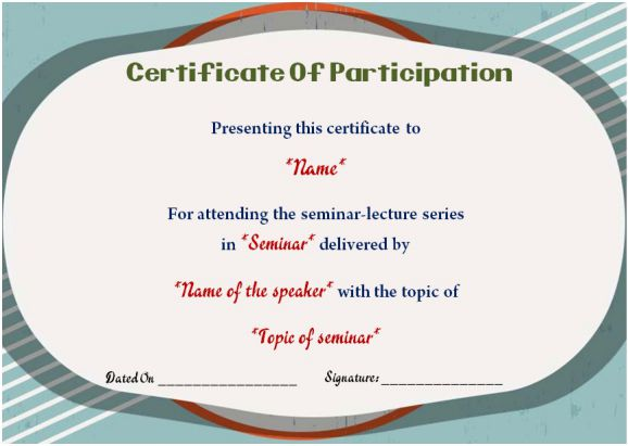 sample of certificate of participation in seminars