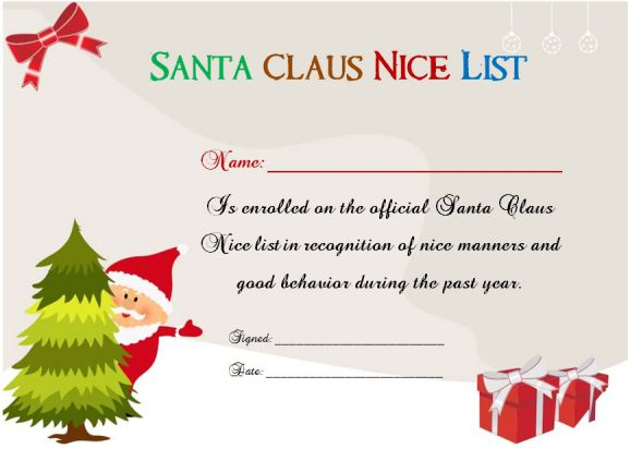 Santa Claus Naughty Or Nice Certificate