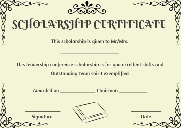 scholarship recipient certificate template