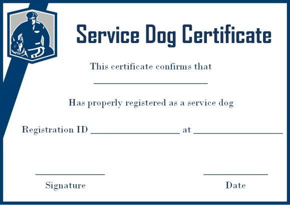 Service dog certificate template 10 word templates for for Dog certificate template
