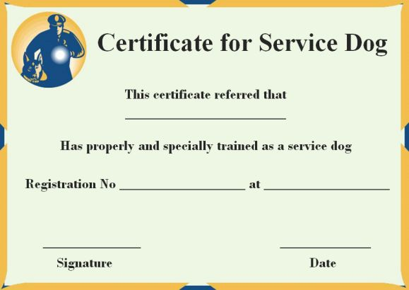 Service Dog Certificate Template 10 Word Templates For Trained