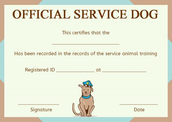 Service dog certificate template 10 word templates for trained things to be covered yadclub Images