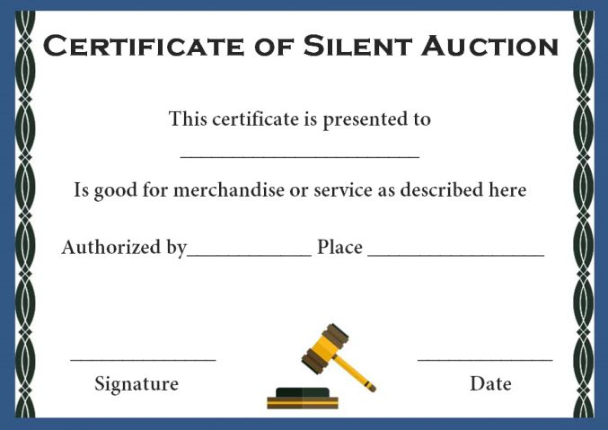 silent auction award certificate